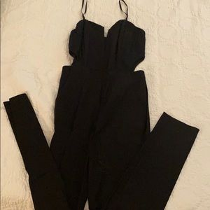 Nasty gal jumpsuit size small deep v-neck, zip up